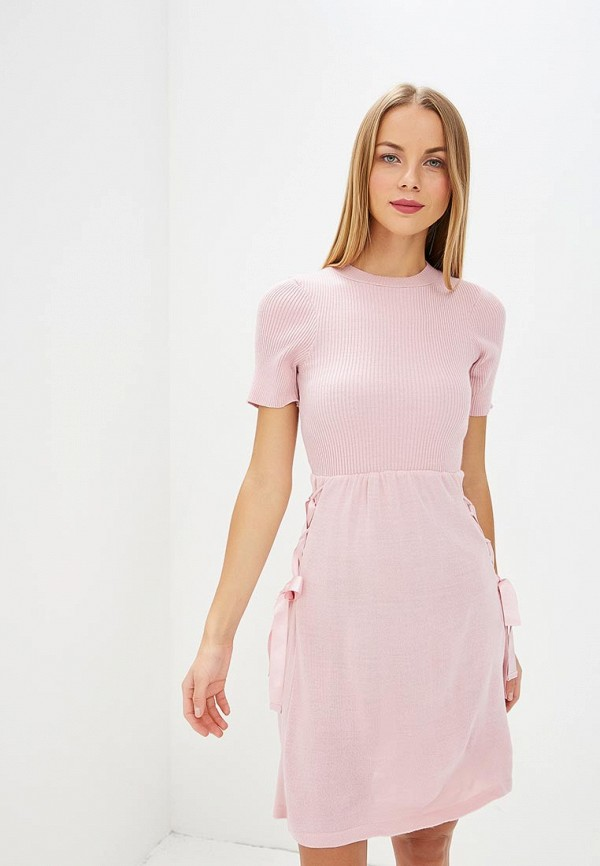 Купить Платье LOST INK, WOVEN TIE WAIST FIT AND FLARE DRESS, LO019EWCCQM7, розовый, Осень-зима 2018/2019