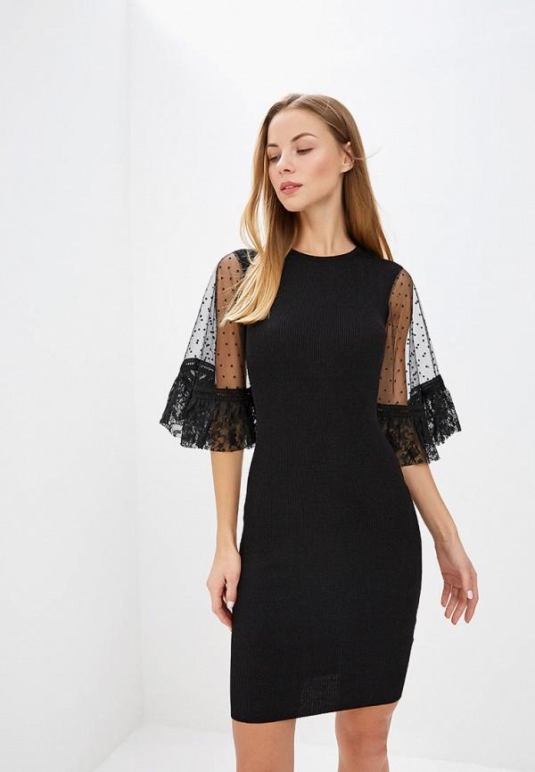 Купить Платье LOST INK, LACE VOLUME SLEEVE DRESS, lo019ewccqo3, черный, Осень-зима 2018/2019