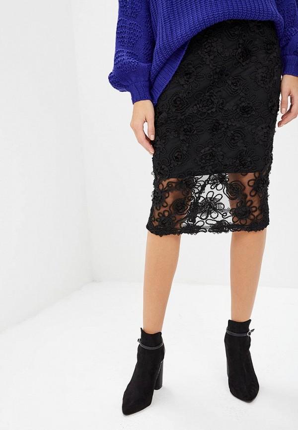 женская зауженные юбка lost ink, черная