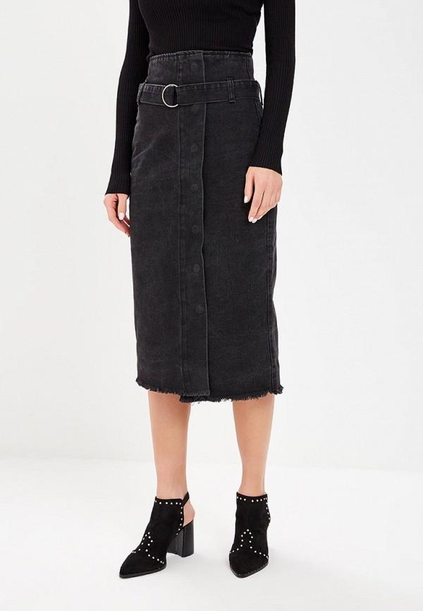 женская джинсовые юбка lost ink, черная