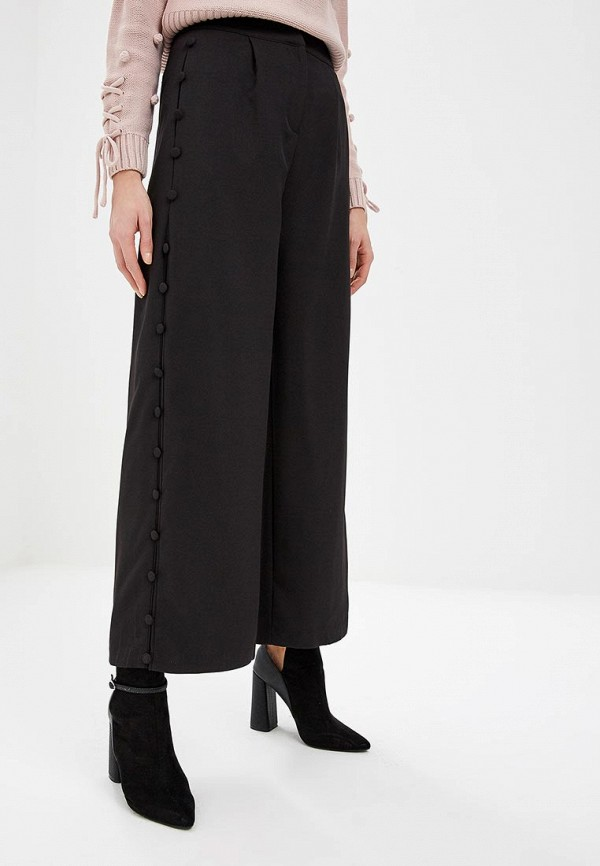 Купить Брюки LOST INK, TROUSER WITH BUTTON FRONT AND WIDE LEG, lo019ewdjnm1, черный, Весна-лето 2019