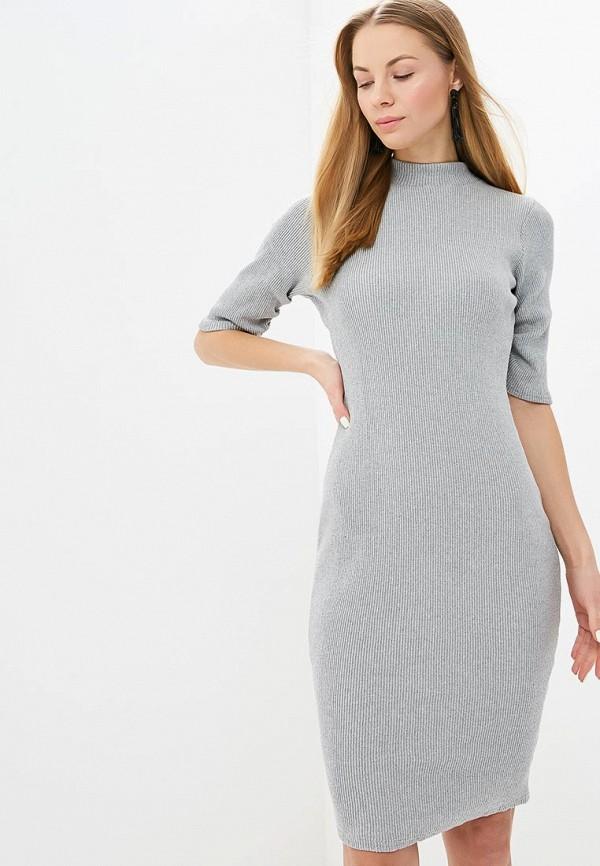 Купить Платье LOST INK, HEAVY RIB DRESS WITH PLEAT SLEEVE, lo019ewdjnp5, серый, Весна-лето 2019