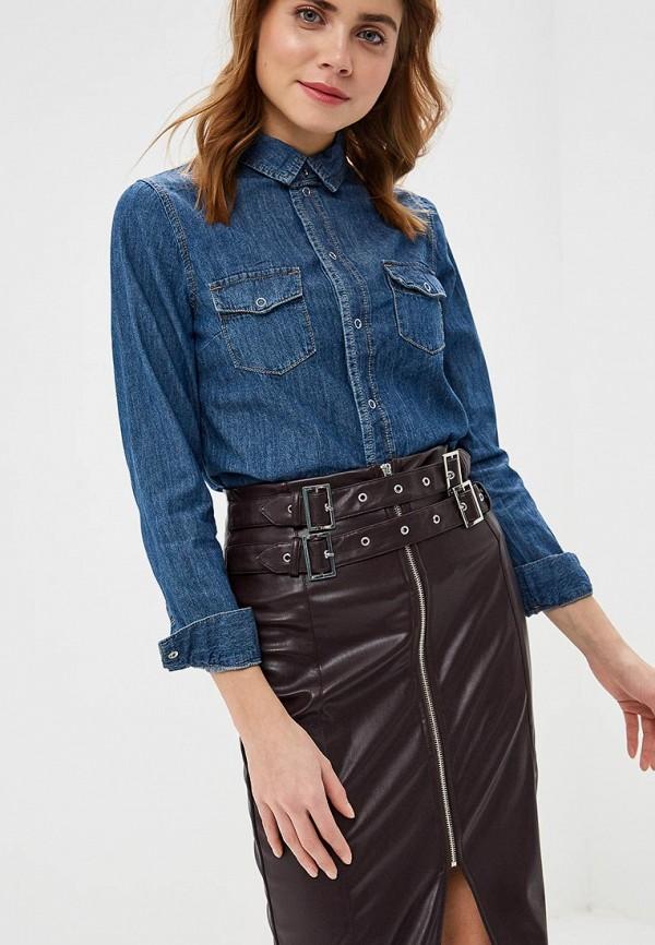 женская рубашка с длинным рукавом lost ink, синяя