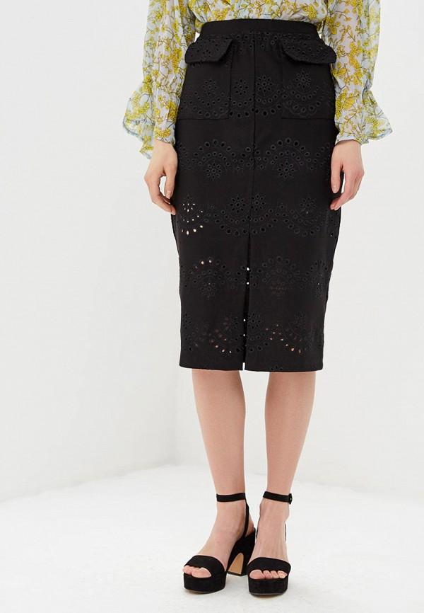 женская прямые юбка lost ink, черная