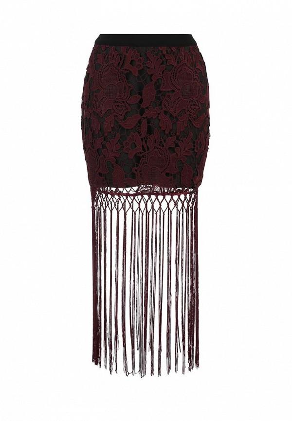 женская прямые юбка lost ink, бордовая