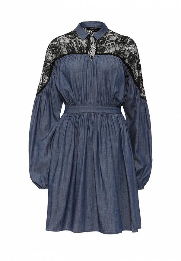Купить Платье LOST INK, GEORGIA DENIM DRESS WITH LACE SLEEVE, LO019EWJOV73, синий, Осень-зима 2016/2017