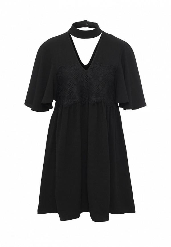 Платье LOST INK, LEONORA HIGH NECK LACE SWING, LO019EWJOW29, черный, Осень-зима 2016/2017  - купить со скидкой