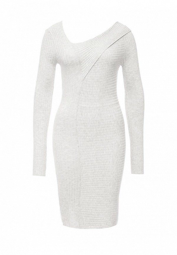 Купить Платье LOST INK, THE CUT ABOUT RIBBED BARDOT DRESS, LO019EWJOW50, серый, Осень-зима 2016/2017