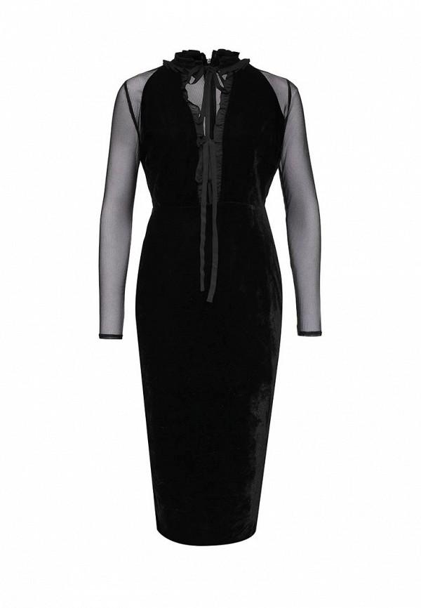 Купить Платье LOST INK, LUCA VELVET FRILL NECK DRESS, LO019EWOLN35, черный, Осень-зима 2016/2017