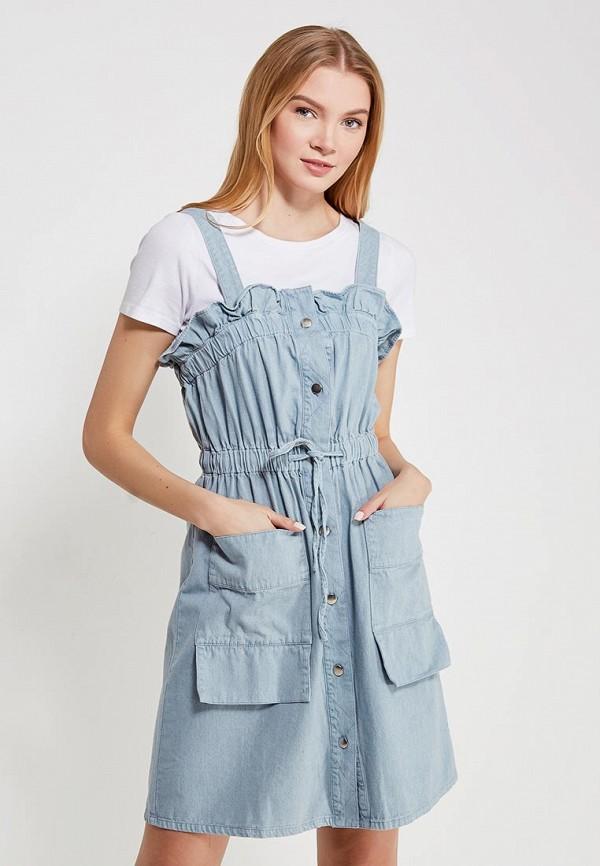 Купить Платье джинсовое LOST INK, PIKA TIE WAIST DENIM DRESS, LO019EWRIS94, голубой, Осень-зима 2017/2018
