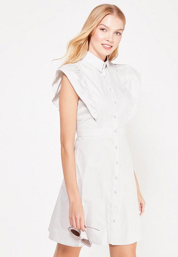 Купить Платье LOST INK, FRILL SHOULDER SHIRT DRESS, lo019ewtxe36, серый, Осень-зима 2017/2018