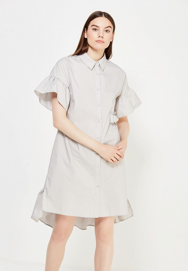 Купить Платье LOST INK, DOUBLE LAYER SHIRT DRESS, LO019EWUTW60, серый, Осень-зима 2017/2018