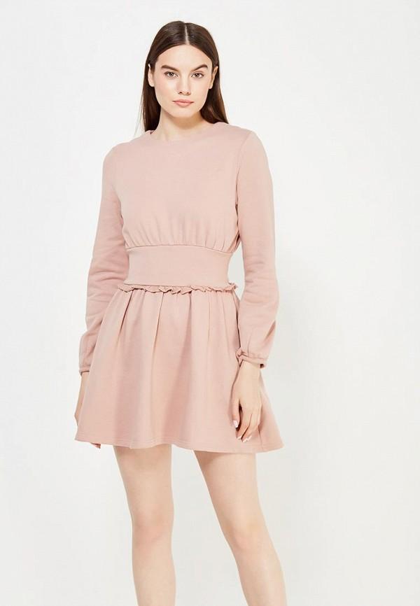 Купить Платье LOST INK, HEAVY JERSEY FRILL WAIST, LO019EWUTW63, розовый, Осень-зима 2017/2018
