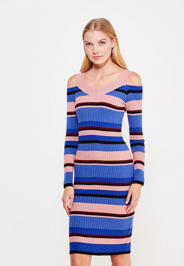 Купить Платье LOST INK, COLD SHOULDER STRIPE KNIT DRESS, lo019ewvyz44, разноцветный, Осень-зима 2017/2018