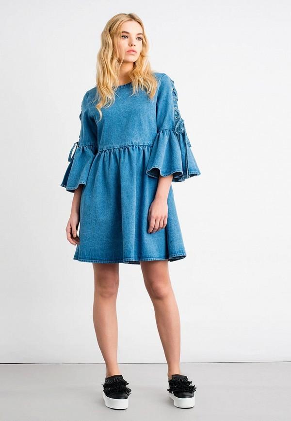Купить Платье джинсовое LOST INK, TIE SLEEVE SWING DENIM DRESS, LO019EWVYZ65, голубой, Осень-зима 2017/2018