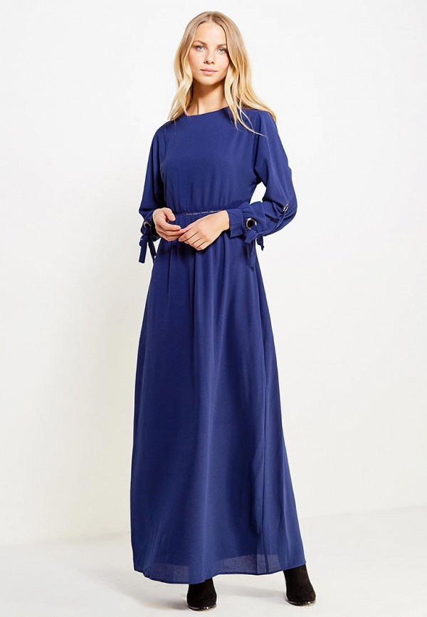 Купить Платье LOST INK, TIE SLEEVE MAXI DRESS, lo019ewwgj51, синий, Осень-зима 2017/2018