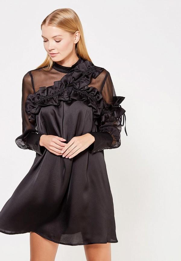 Купить Платье LOST INK, CHIFFON PANEL FRILL NECK SWING, LO019EWWGP26, черный, Осень-зима 2017/2018