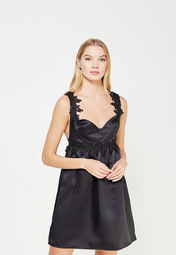 Купить Платье LOST INK, LACE TRIM FIT AND FLARE SATIN DRESS, lo019ewyot32, черный, Осень-зима 2017/2018