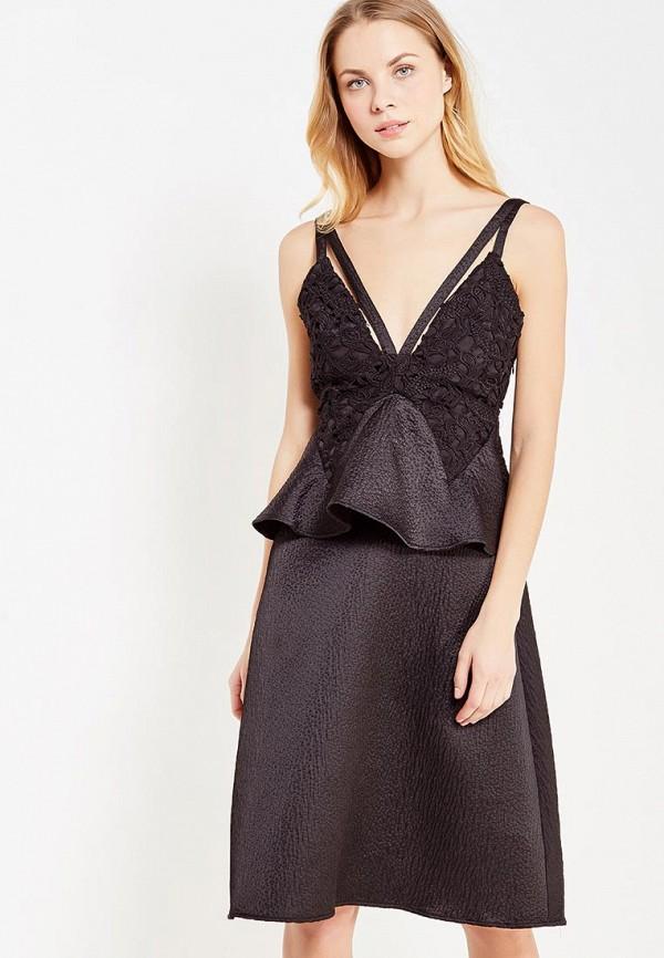 Платье LOST INK, CONTRAST LACE BUST PEPLUM MIDI DRESS, lo019ewypr41, черный, Осень-зима 2017/2018  - купить со скидкой