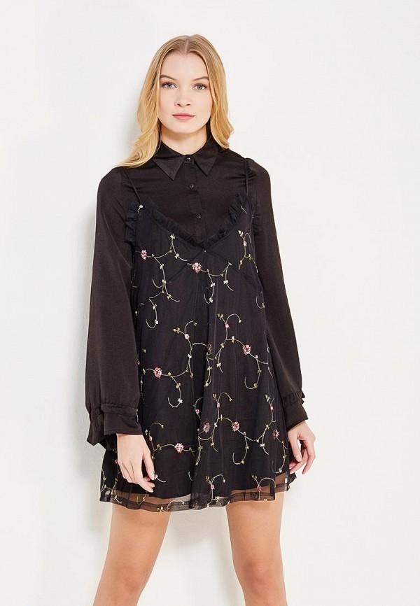 Купить Платье LOST INK, TWO IN ONE SHIRT SWING DRESS WITH EMBROIDERY, LO019EWYTZ30, черный, Осень-зима 2017/2018