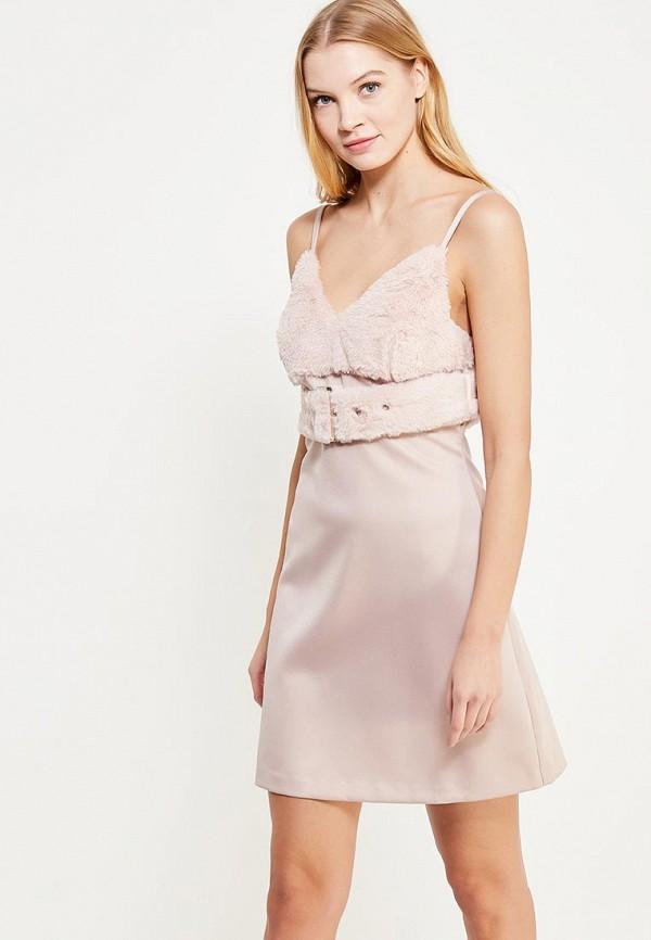 Купить Платье LOST INK, FURRY BUST FIT AND FLARE, lo019ewytz51, розовый, Осень-зима 2017/2018