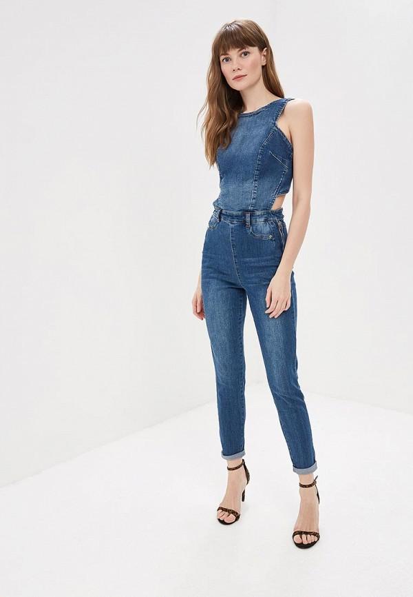 женский джинсовые комбинезон love republic, синий
