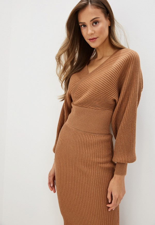 женский пуловер love republic, коричневый