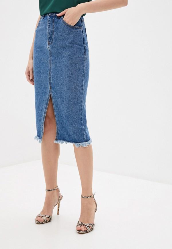 женская джинсовые юбка love republic, синяя