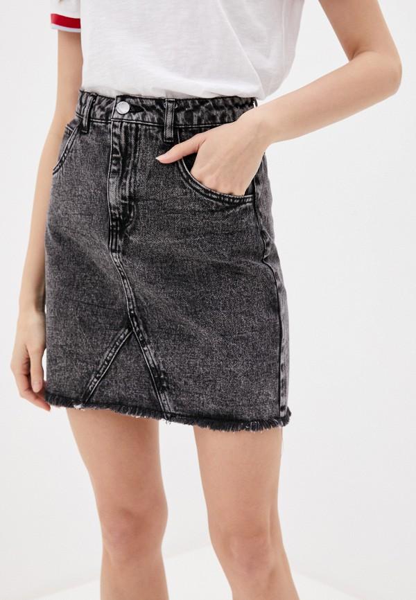 женская джинсовые юбка love republic, серая