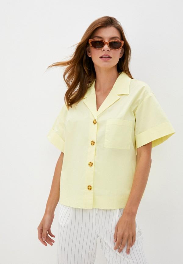 женская рубашка с коротким рукавом love republic, желтая