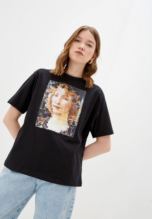 женская футболка love republic, черная