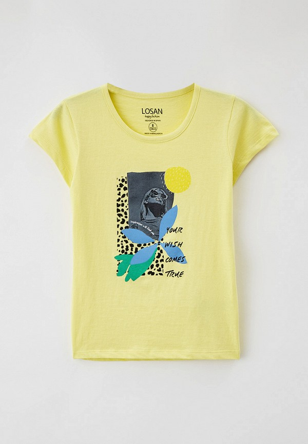 футболка с коротким рукавом losan для девочки, желтая