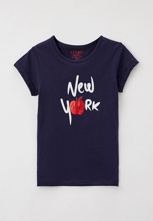 футболка с коротким рукавом losan для девочки, синяя