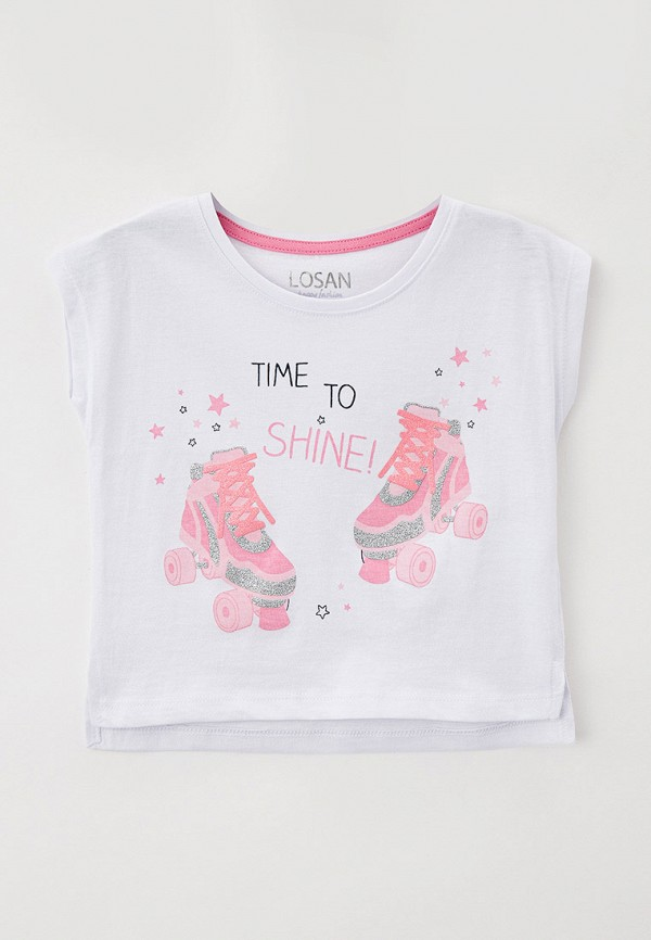 футболка с коротким рукавом losan для девочки, белая