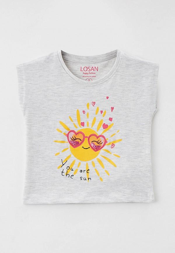 футболка с коротким рукавом losan для девочки, серая