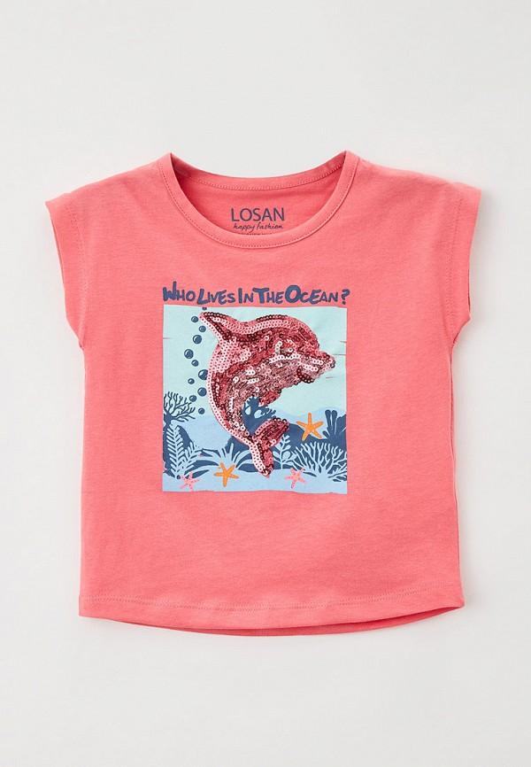 футболка с коротким рукавом losan для девочки, розовая