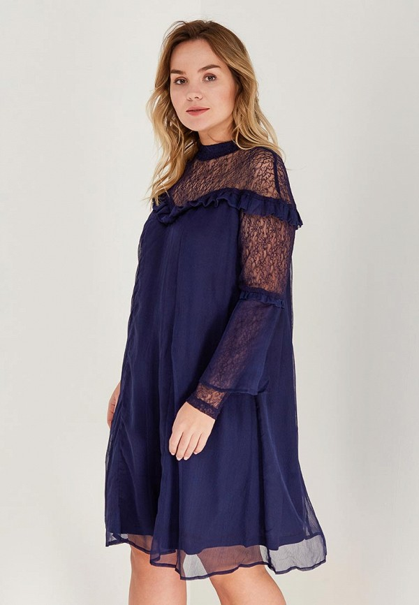 Купить Платье LOST INK PLUS, SWING DRESS WITH PRETTY LACE, lo035ewaamc1, синий, Весна-лето 2018