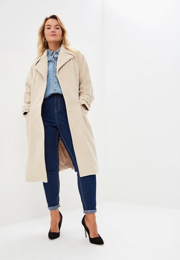 женское пальто lost ink plus, бежевое