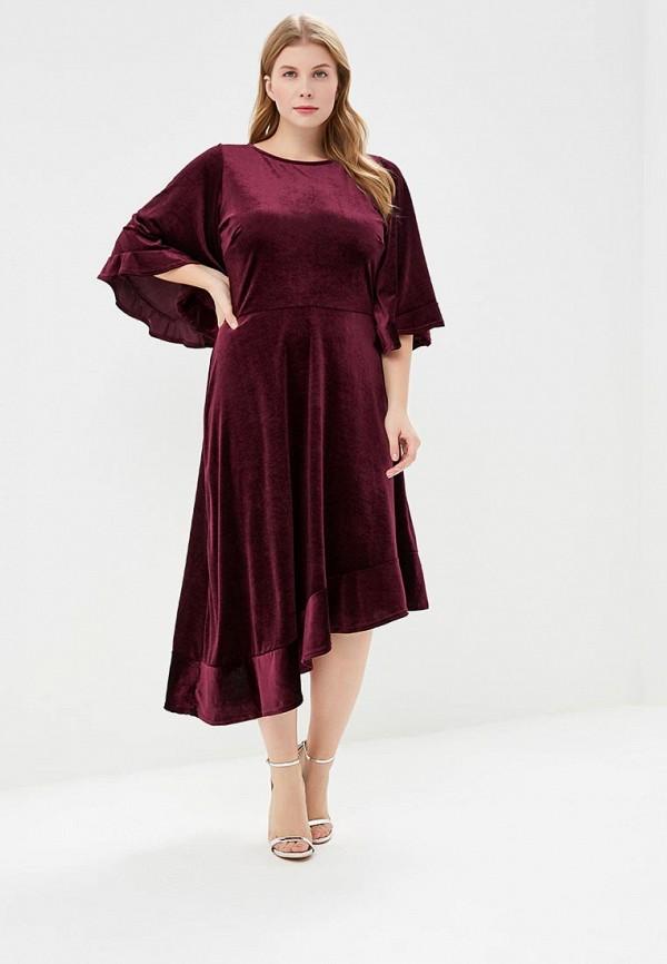 Купить Платье LOST INK PLUS, DRESS WITH FULL SLEEVES IN VELVET, lo035ewcbpi9, бордовый, Осень-зима 2018/2019