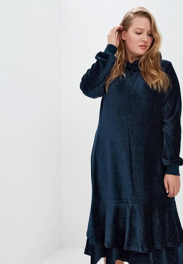 Купить Платье LOST INK PLUS, HOODIE DRESS IN VELVET CORD, lo035ewcbpj5, синий, Осень-зима 2018/2019