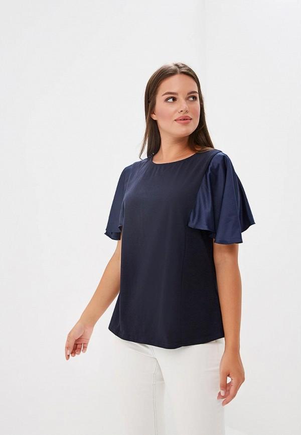 Купить Блуза LOST INK PLUS, T-SHIRT WITH SATIN SLEEVES, lo035ewcbpn7, синий, Осень-зима 2018/2019