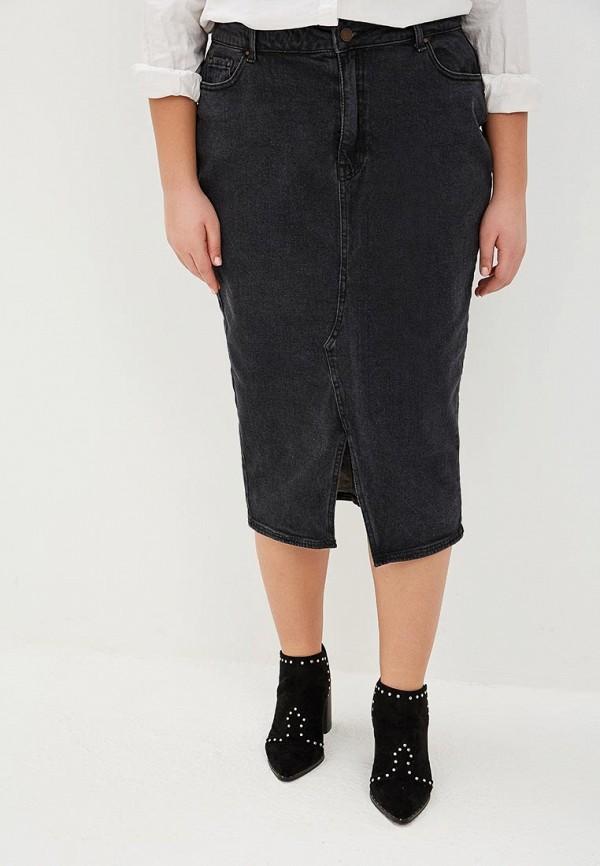 женская джинсовые юбка lost ink plus, черная