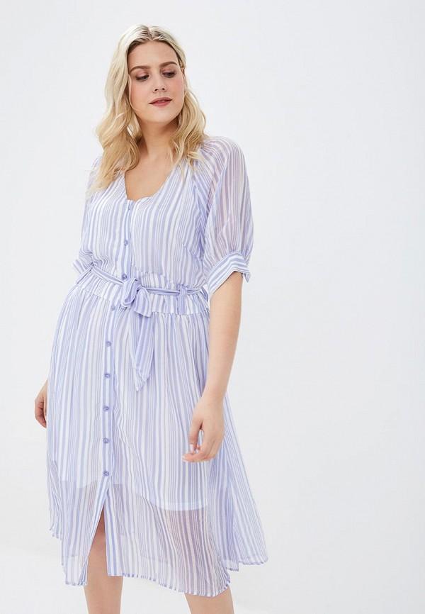 женское повседневные платье lost ink plus, голубое