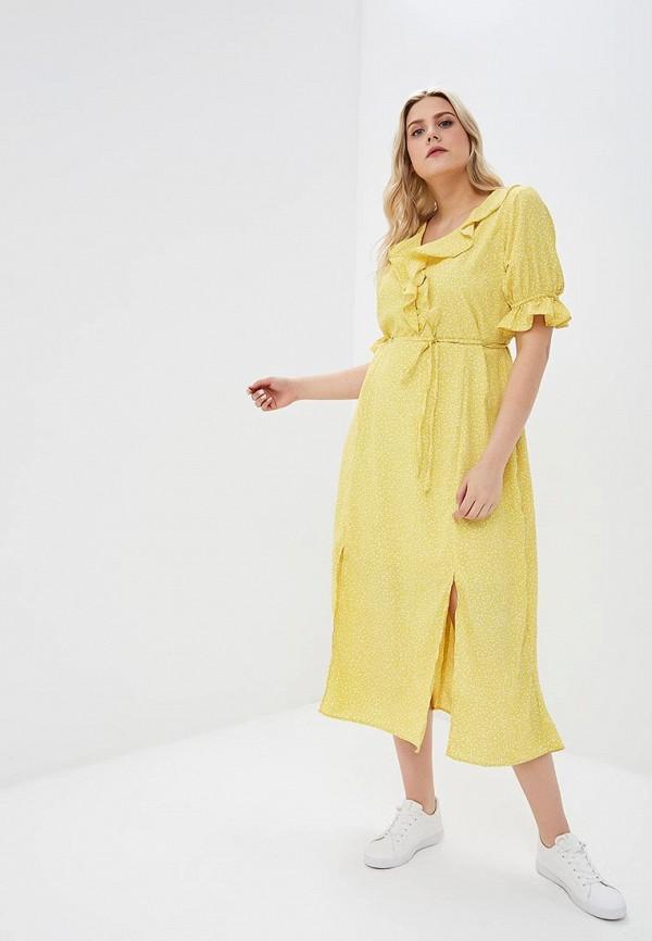 женское повседневные платье lost ink plus, желтое