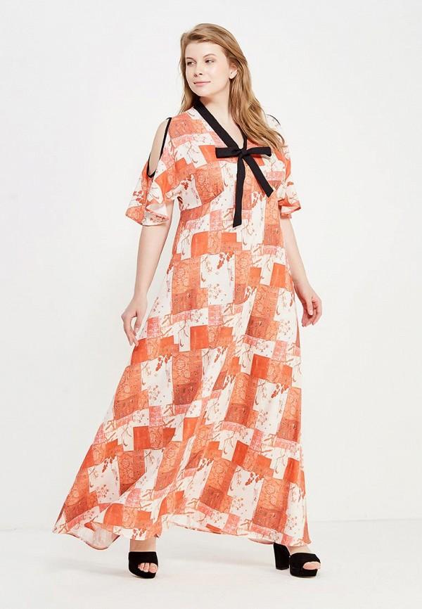 женское повседневные платье lost ink plus, оранжевое