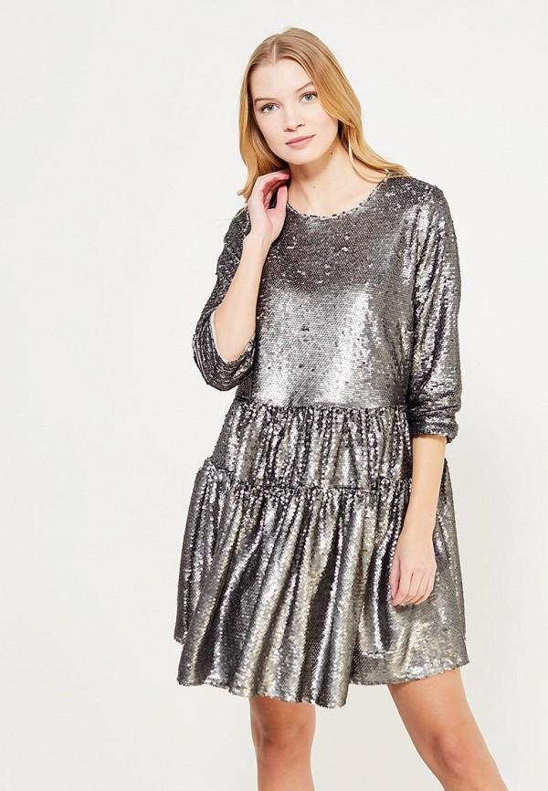 женское вечерние платье lost ink plus, серебряное
