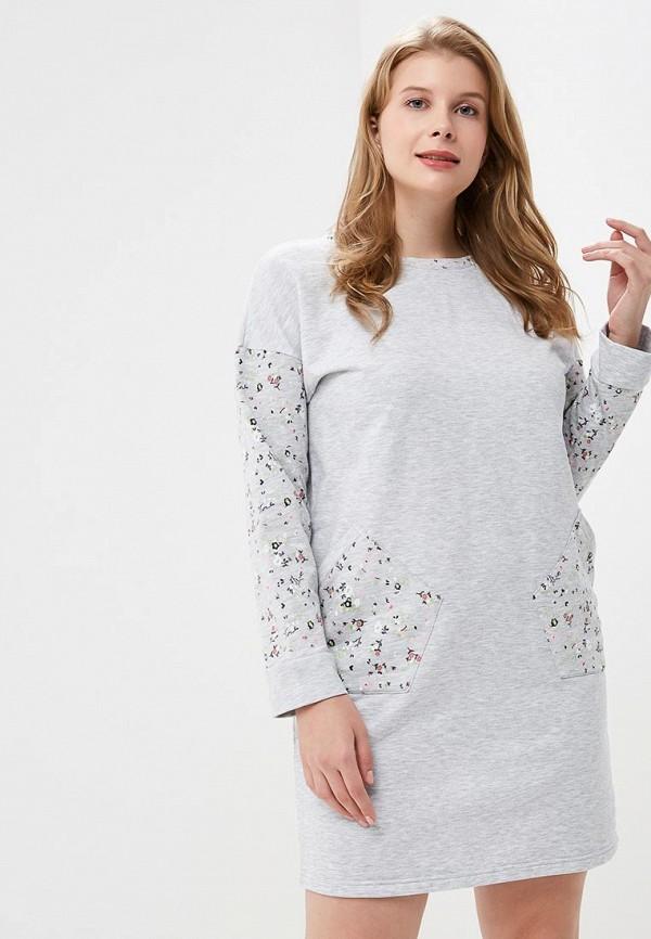 Купить Платье домашнее Лори, LO037EWCXXW6, серый, Осень-зима 2018/2019