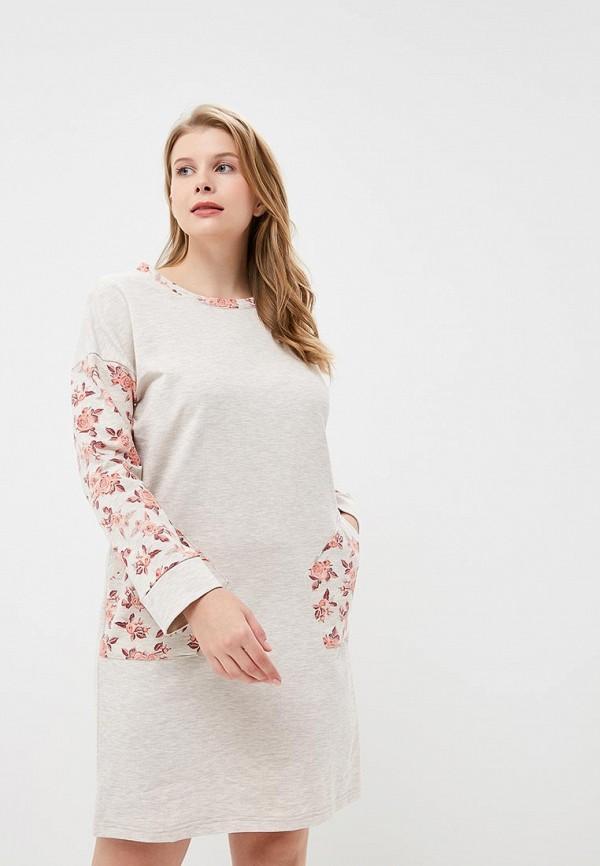 Купить Платье домашнее Лори, LO037EWCXXW7, бежевый, Осень-зима 2018/2019