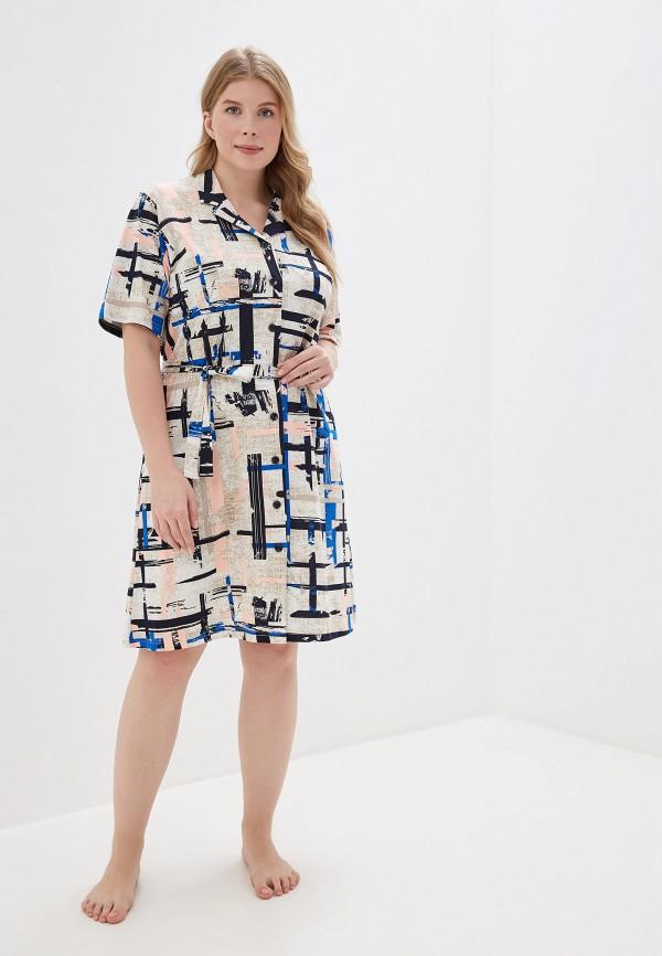 Фото 2 - Платье домашнее Лори бежевого цвета