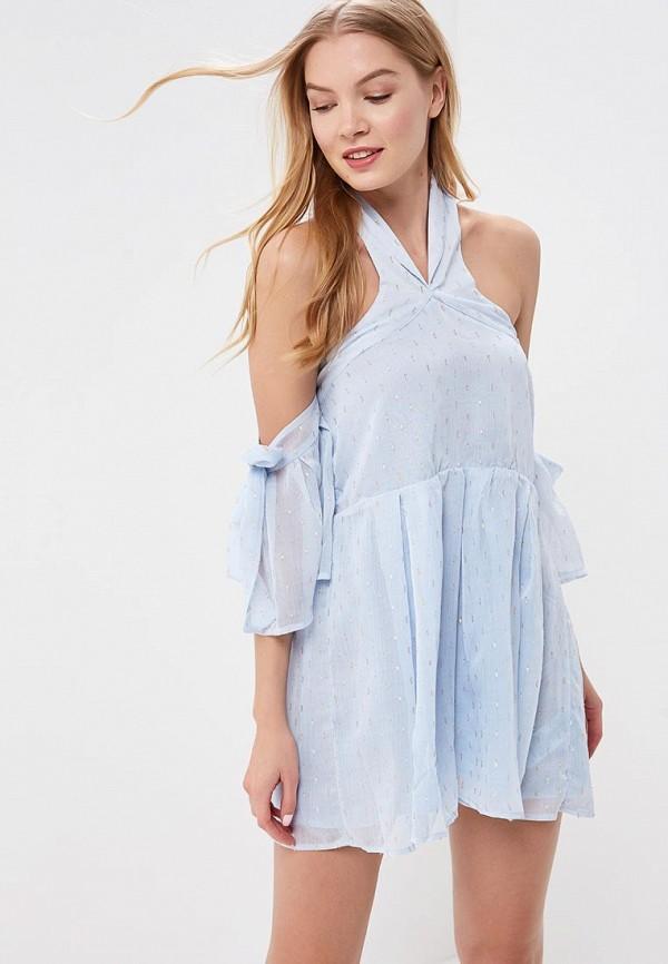 женское вечерние платье lost ink petite, голубое